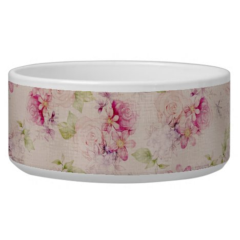 Vintage pink  white green roses flowers pattern bowl