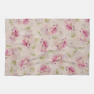 Vintage pink  white green roses flowers pattern hand towel