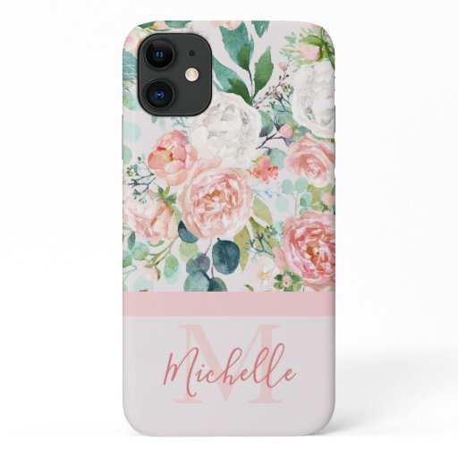 Vintage Pink White Rose Monogram and Name iPhone 11 Case