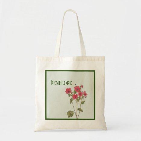 Vintage Pink Wildflowers With Name Bridesmaid Tote Bag