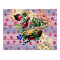 Vintage Pink Wood Yellow Bird Colorful Floral Postcard