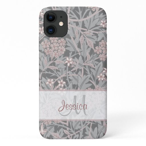 Vintage Pinkish Floral Jasmine by William Morris iPhone 11 Case