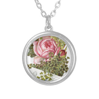 Vintage-pinkrose-advetisement Silver Plated Necklace