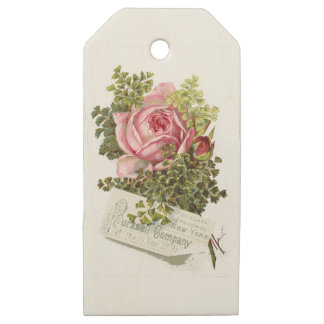 Vintage-pinkrose-advetisement Wooden Gift Tags