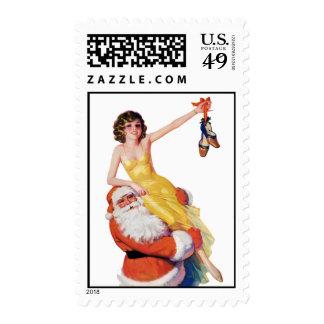 Vintage Pinup Christmas Santa Postage Stamps