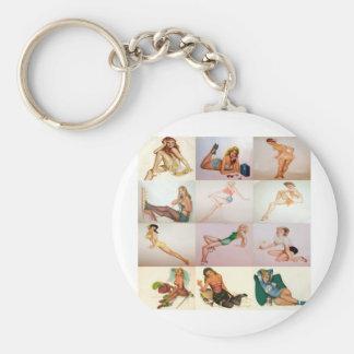 Vintage Pinup Collage - 12 Gorgeous Girls In 1 Basic Round Button Keychain
