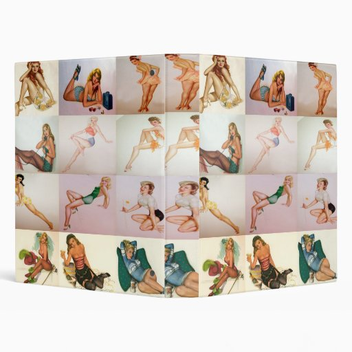 Vintage Pinup Collage - 12 Gorgeous Girls In 1 3 Ring Binders