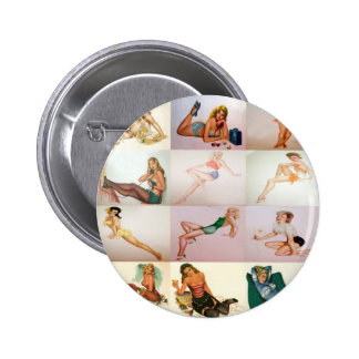 Vintage Pinup Collage - 12 Gorgeous Girls In 1 Pinback Buttons