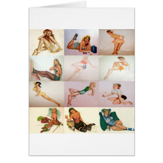Vintage Pinup Collage - 12 Gorgeous Girls In 1 Greeting Cards