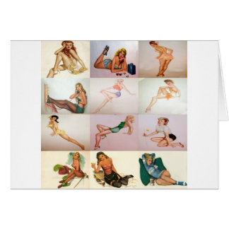 Vintage Pinup Collage - 12 Gorgeous Girls In 1 Cards