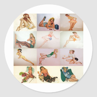 Vintage Pinup Collage - 12 Gorgeous Girls In 1 Classic Round Sticker