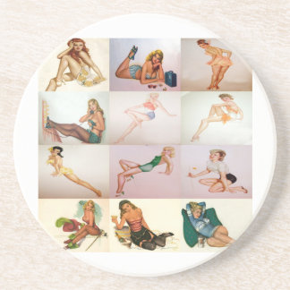 Vintage Pinup Collage - 12 Gorgeous Girls In 1 Coaster