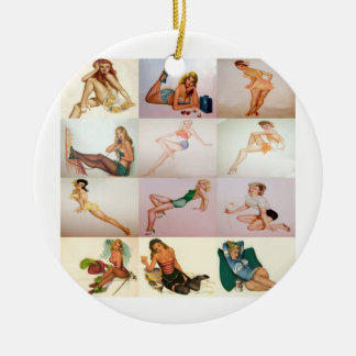 Vintage Pinup Collage - 12 Gorgeous Girls In 1 Double-Sided Ceramic Round Christmas Ornament
