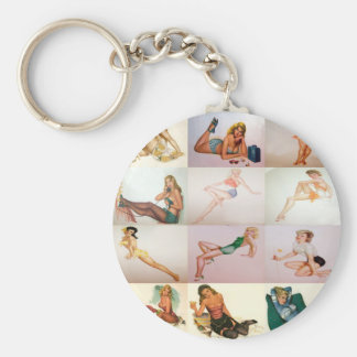 Vintage Pinup Collage - 12 Gorgeous Girls In 1 Keychain