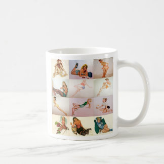 Vintage Pinup Collage - 12 Gorgeous Girls In 1 Classic White Coffee Mug