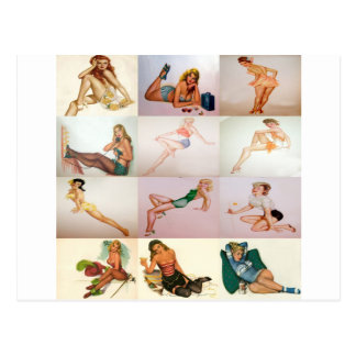 Vintage Pinup Collage - 12 Gorgeous Girls In 1 Postcard
