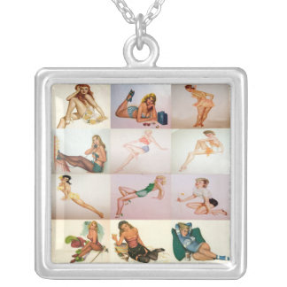 Vintage Pinup Collage - 12 Gorgeous Girls In 1 Square Pendant Necklace
