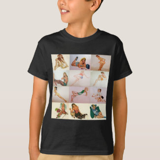 Vintage Pinup Collage - 12 Gorgeous Girls In 1 T-Shirt