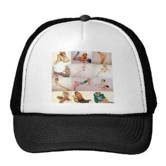 Vintage Pinup Collage - 12 Gorgeous Girls In 1 Trucker Hat
