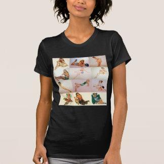 Vintage Pinup Collage - 12 Gorgeous Girls In 1 Shirts