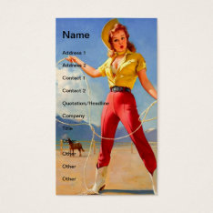 Vintage Pinup Cowgirl And Horse Business Card at Zazzle
