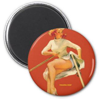 Vintage Pinup Digging Deep Magnet