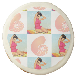 Vintage Pinup Girl and Sea Shell Beach Pattern Sugar Cookie