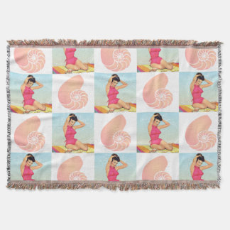 Vintage Pinup Girl and Sea Shell Pattern Throw Blanket