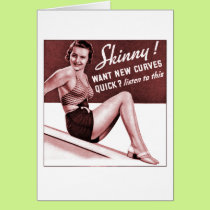 Vintage Pinup Girl Are you Skinny Put on Curves Ad Card