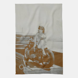 VINTAGE PINUP GIRL ON MOTOCYCLE TOWEL