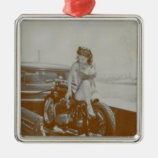 VINTAGE PINUP GIRL ON MOTOCYCLE. METAL ORNAMENT
