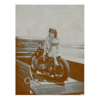 VINTAGE PINUP GIRL ON MOTOCYCLE. POSTCARD