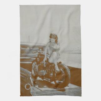 VINTAGE PINUP GIRL ON MOTOCYCLE. TOWEL