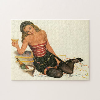 Vintage Pinup Girl Original Coloring 11 Jigsaw Puzzle
