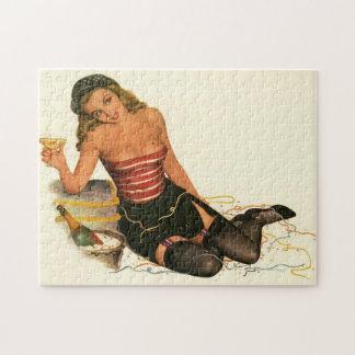 Vintage Pinup Girl Original Coloring 11 Jigsaw Puzzle