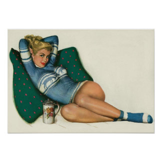 Vintage Pinup Girl Original Coloring 12 Poster