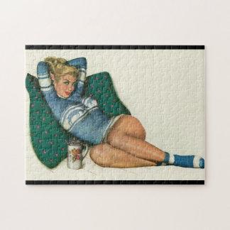 Vintage Pinup Girl Original Coloring 12 Puzzle