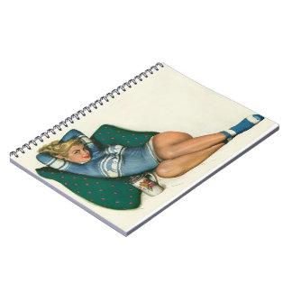 Vintage Pinup Girl Original Coloring 12 Spiral Notebook