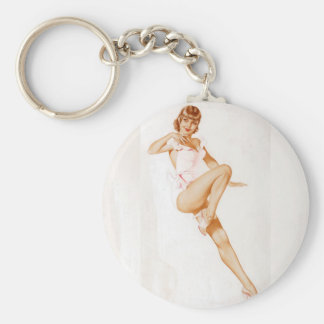 Vintage Pinup Girl Original Coloring 13 Basic Round Button Keychain