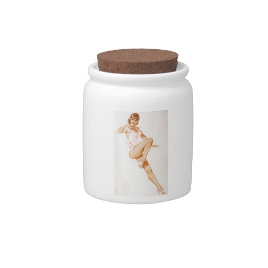 Vintage Pinup Girl Original Coloring 13 Candy Jar