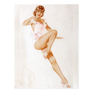 Vintage Pinup Girl Original Coloring 13 Postcard