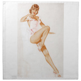 Vintage Pinup Girl Original Coloring 13 Printed Napkin