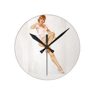 Vintage Pinup Girl Original Coloring 13 Round Clock