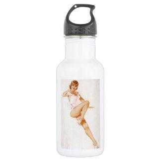 Vintage Pinup Girl Original Coloring 13 Water Bottle