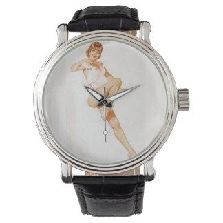 Vintage Pinup Girl Original Coloring 13 Wristwatch