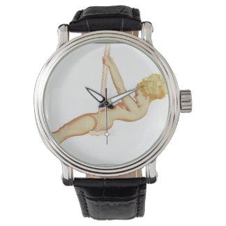 Vintage Pinup Girl Original Coloring 14 Wrist Watch