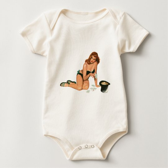 Vintage Pinup Girl Original Coloring 18 Baby Bodysuit
