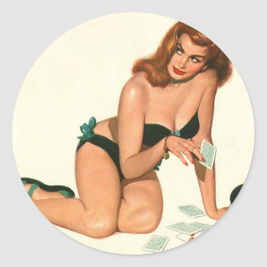 Vintage Pinup Girl Original Coloring 18 Classic Round Sticker