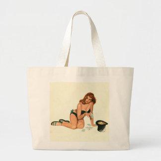 Vintage Pinup Girl Original Coloring 18 Tote Bags