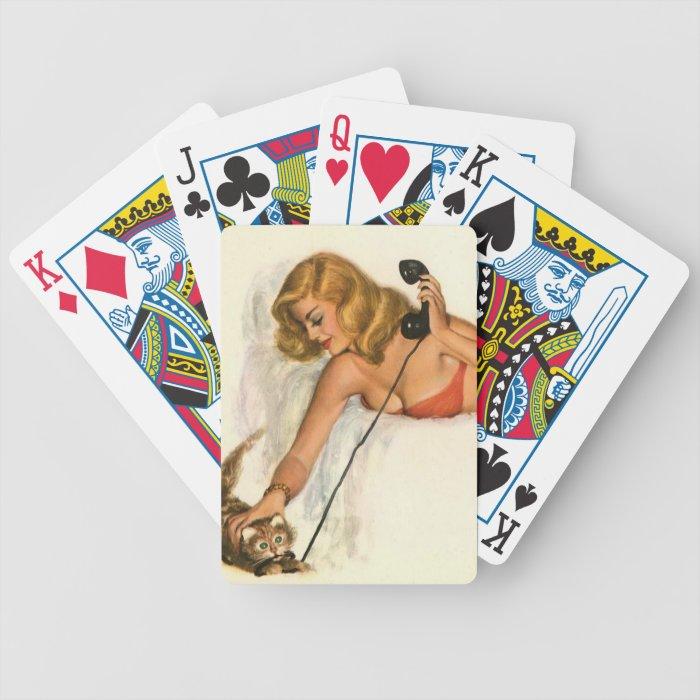 Vintage Pinup Girl Original Coloring 19 Bicycle Playing Cards